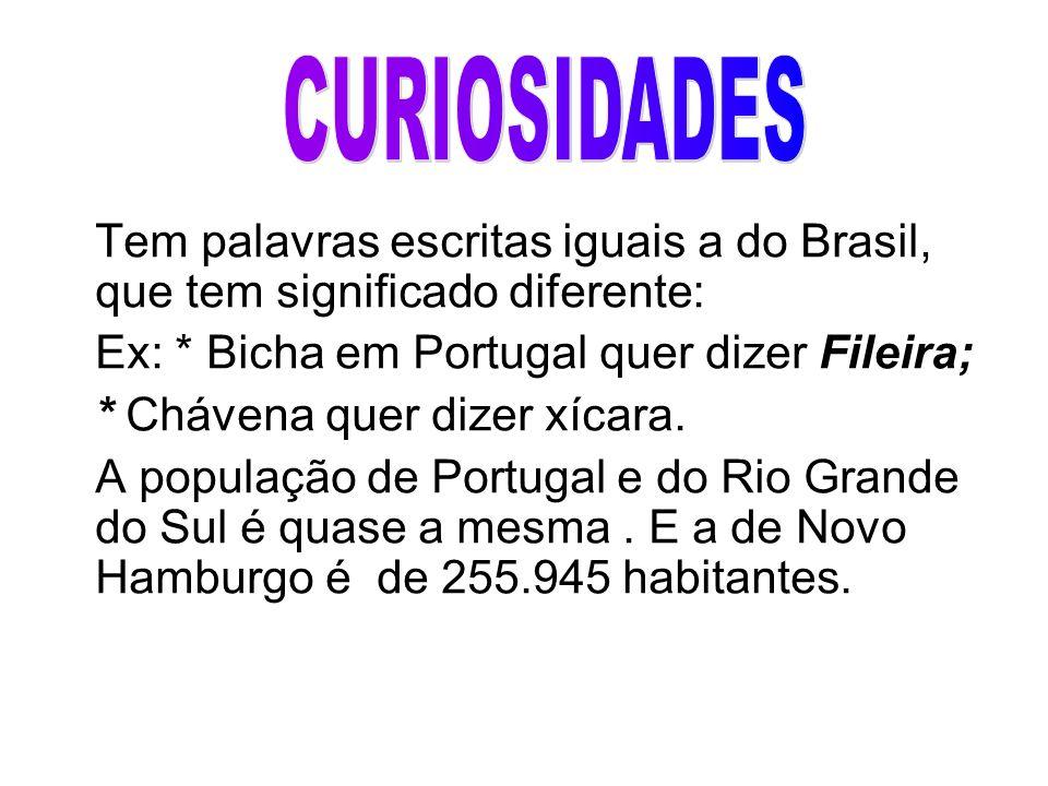 CURIOSIDADES Ex: * Bicha em Portugal quer dizer Fileira;