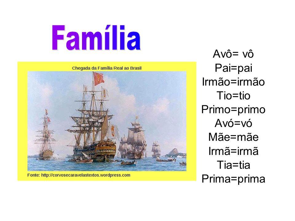 Família Avô= vô Pai=pai Irmão=irmão Tio=tio Primo=primo Avó=vó Mãe=mãe