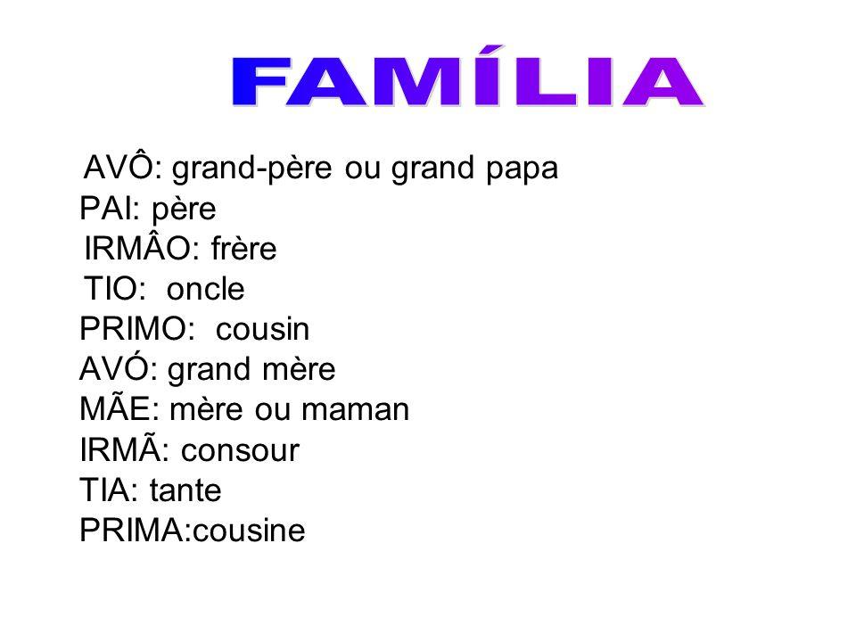 FAMÍLIA AVÔ: grand-père ou grand papa PAI: père IRMÂO: frère