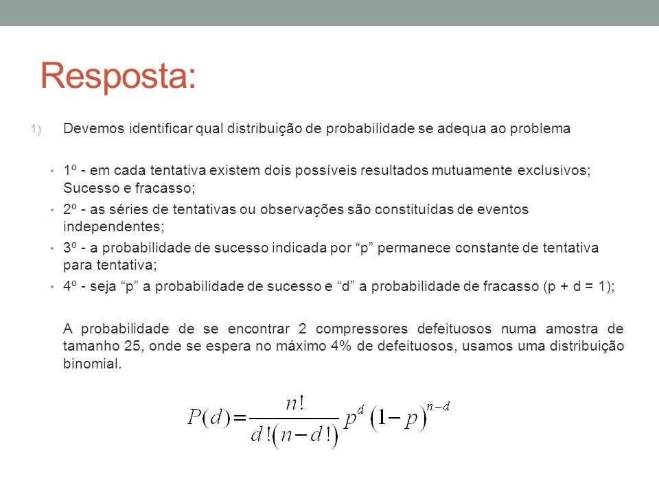 Resposta: Devemos identificar qual distribuição de probabilidade se adequa ao problema.