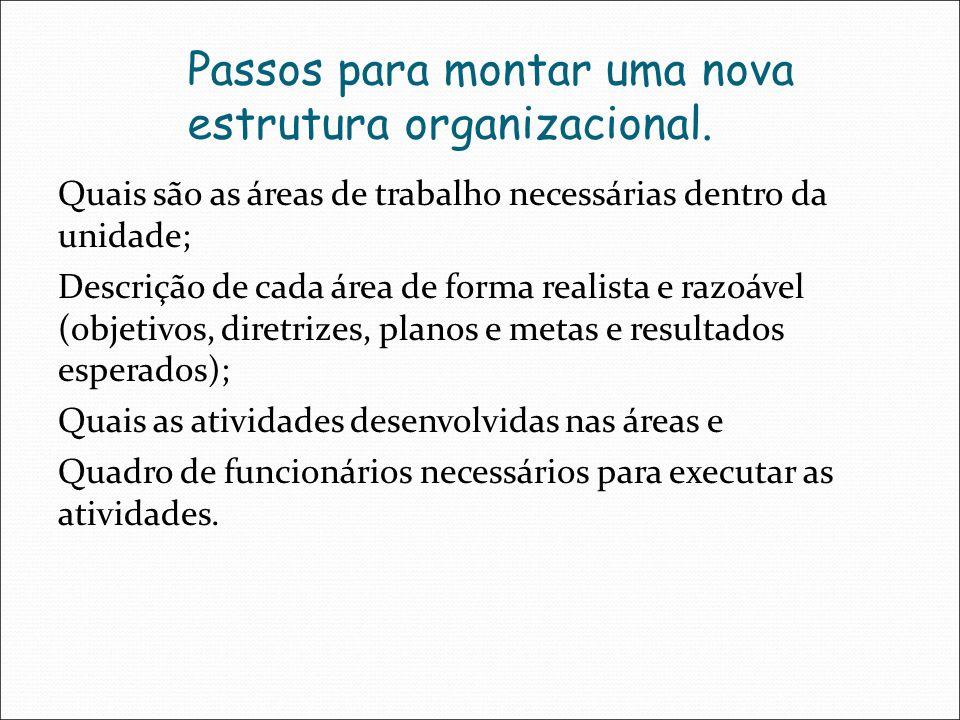 Passos para montar uma nova estrutura organizacional.