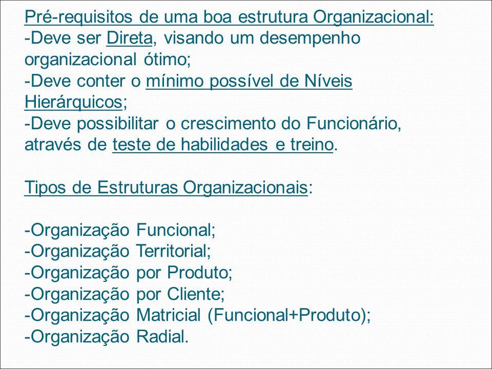 Pré-requisitos de uma boa estrutura Organizacional: