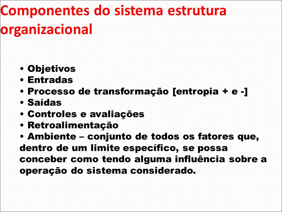 Componentes do sistema estrutura organizacional