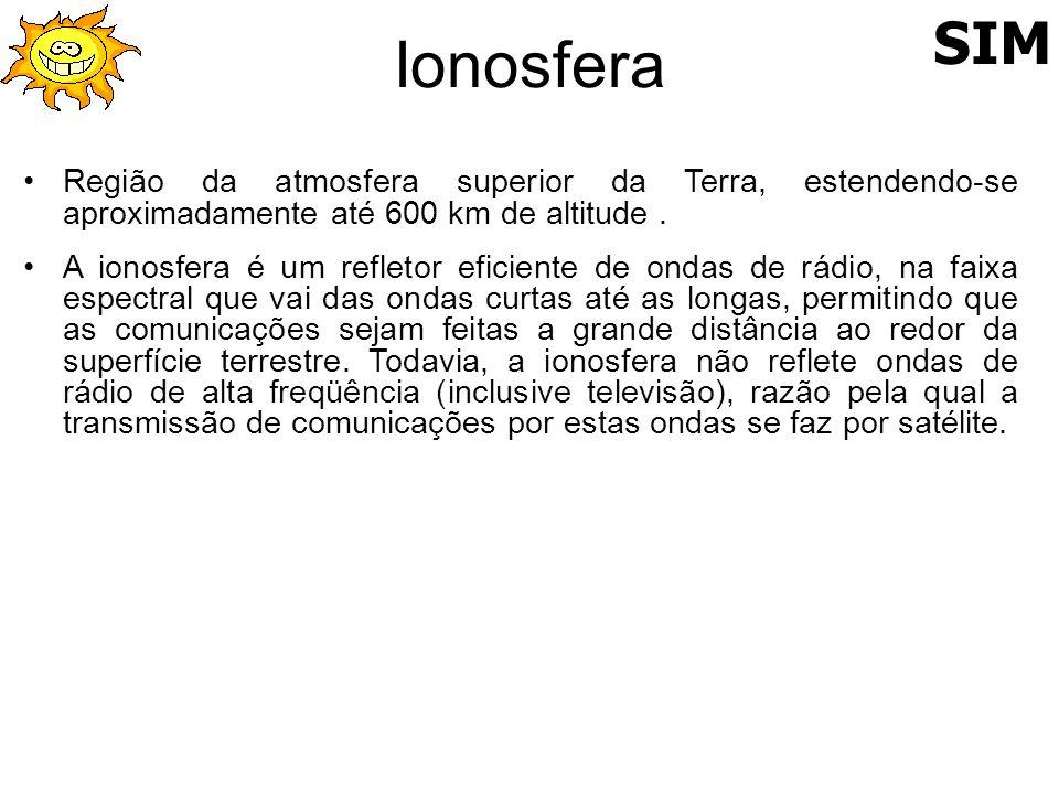 Ionosfera SIM. Região da atmosfera superior da Terra, estendendo-se aproximadamente até 600 km de altitude .