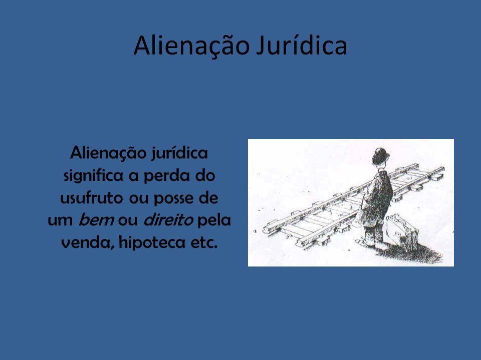 Alienação JurídicaAlienação jurídica significa a perda do usufruto ou posse de um bem ou direito pela venda, hipoteca etc.