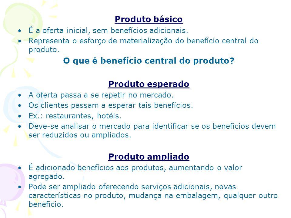 O que é benefício central do produto