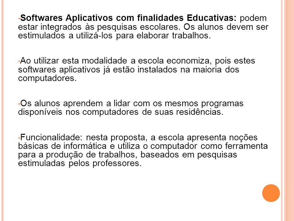 Softwares Aplicativos com finalidades Educativas: podem estar integrados às pesquisas escolares. Os alunos devem ser estimulados a utilizá-los para elaborar trabalhos.
