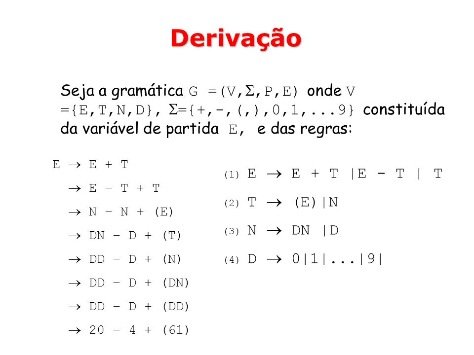 DerivaçãoSeja a gramática G =(V,,P,E) onde V ={E,T,N,D}, ={+,-,(,),0,1,...9} constituída da variável de partida E, e das regras: