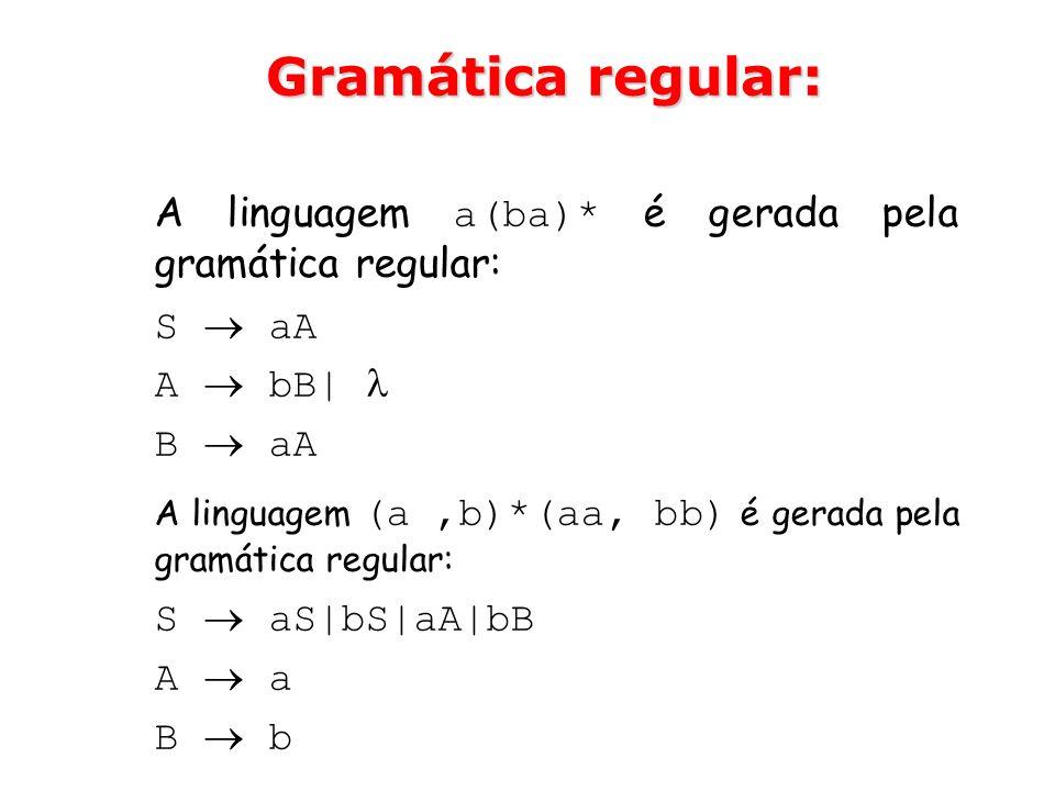 Gramática regular: A linguagem a(ba)* é gerada pela gramática regular:
