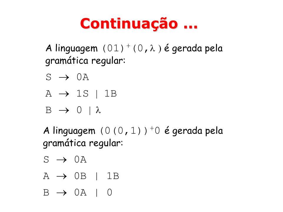 Continuação ... S  0A A  1S | 1B B  0 |  S  0A A  0B | 1B