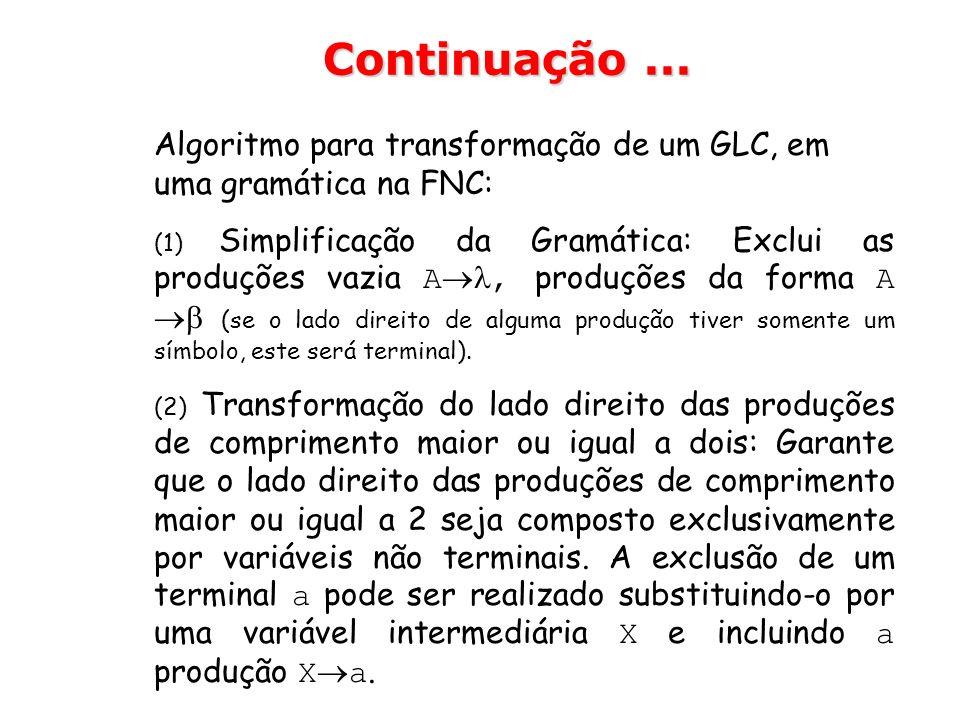 Continuação ... Algoritmo para transformação de um GLC, em uma gramática na FNC: