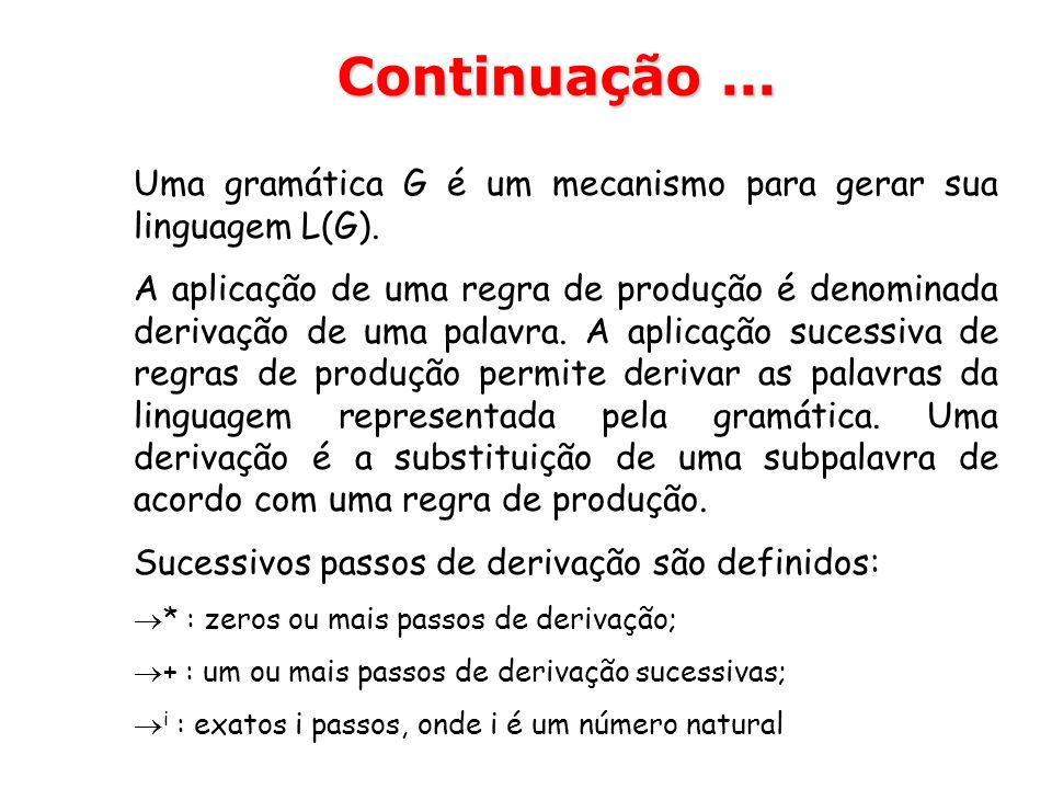 Continuação ... Uma gramática G é um mecanismo para gerar sua linguagem L(G).