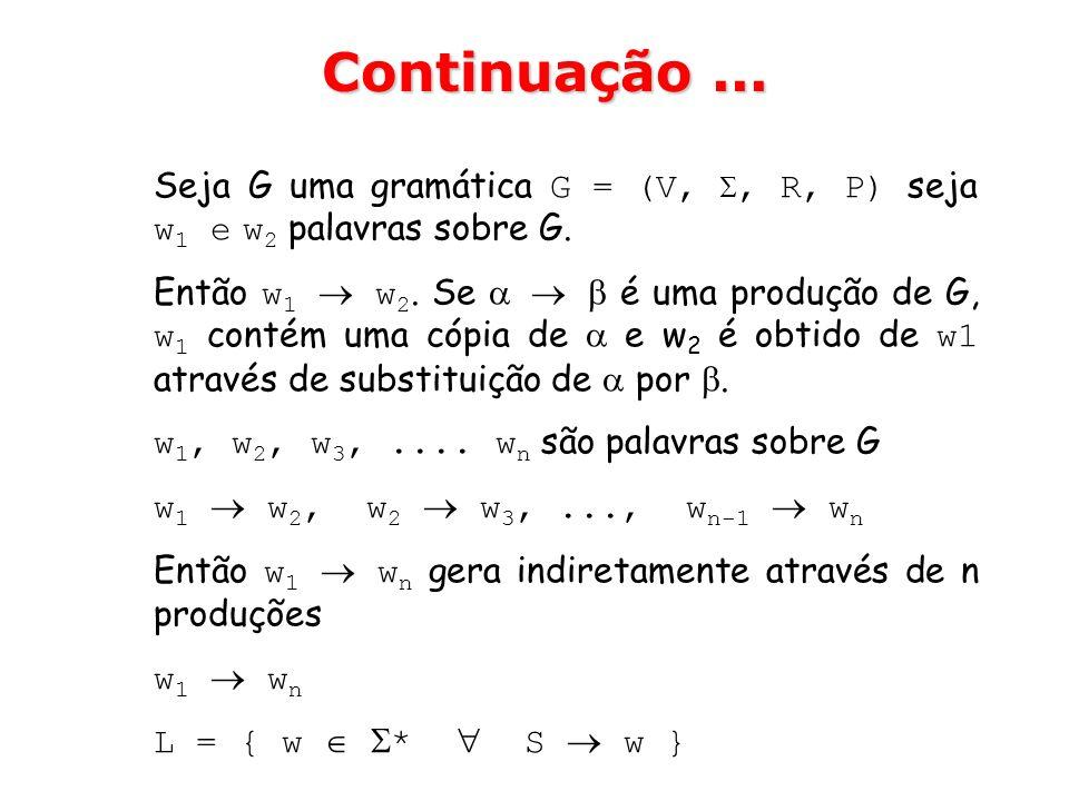 Continuação ... Seja G uma gramática G = (V, , R, P) seja w1 e w2 palavras sobre G.