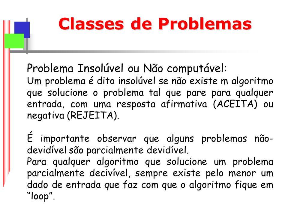 Classes de Problemas Problema Insolúvel ou Não computável: