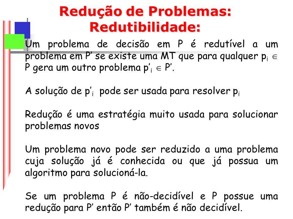 Redução de Problemas: Redutibilidade: