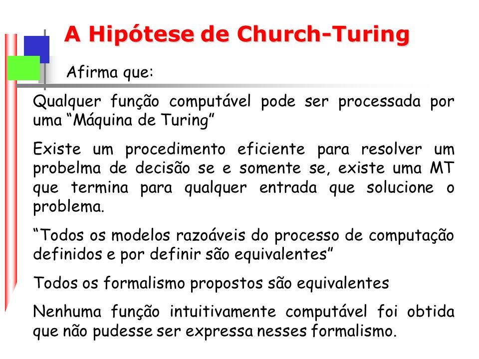 A Hipótese de Church-Turing