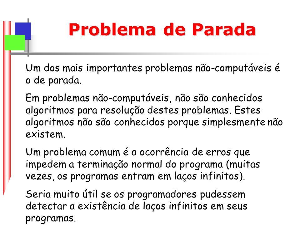 Problema de Parada Um dos mais importantes problemas não-computáveis é o de parada.