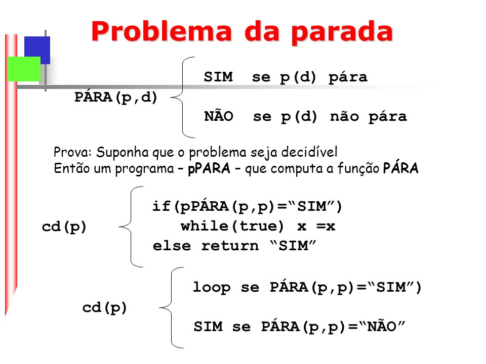 Problema da parada SIM se p(d) pára PÁRA(p,d) NÃO se p(d) não pára
