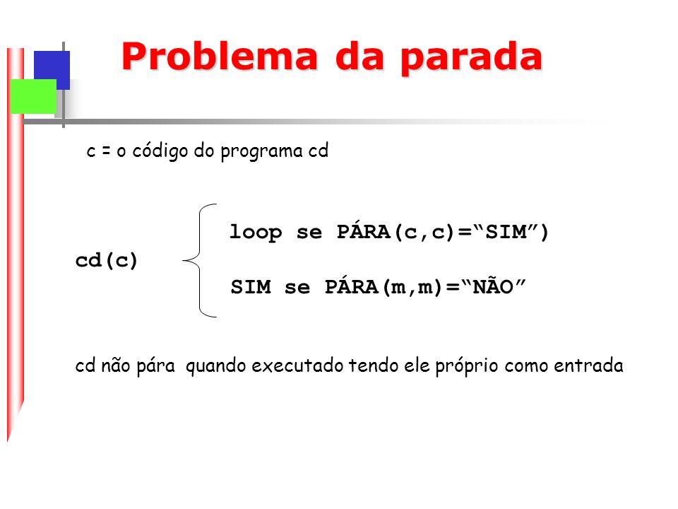 Problema da parada loop se PÁRA(c,c)= SIM ) cd(c)
