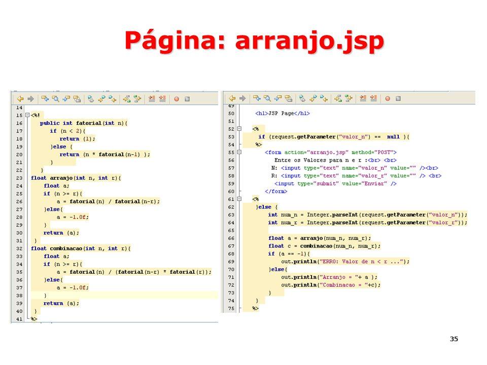 Página: arranjo.jsp