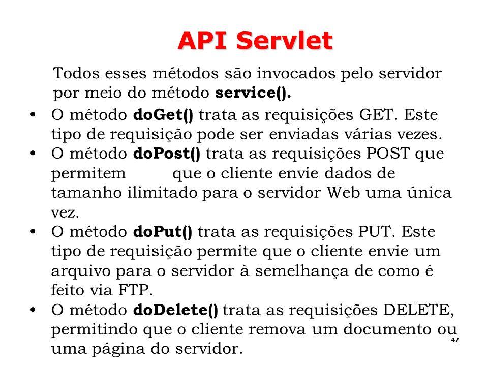 API Servlet Todos esses métodos são invocados pelo servidor por meio do método service().