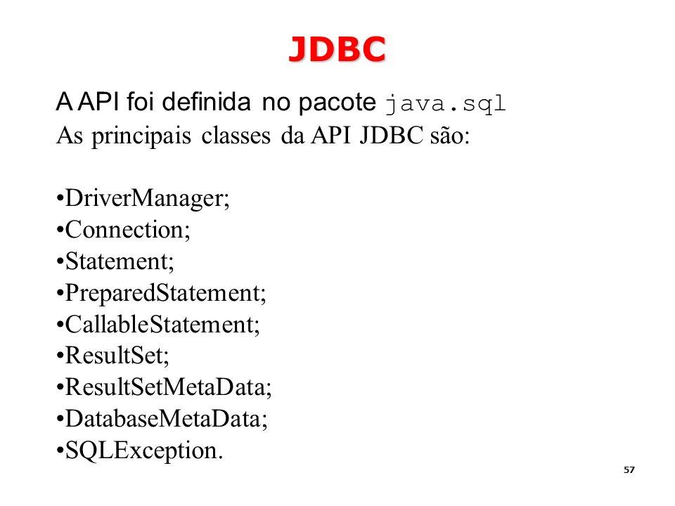 JDBC A API foi definida no pacote java.sql