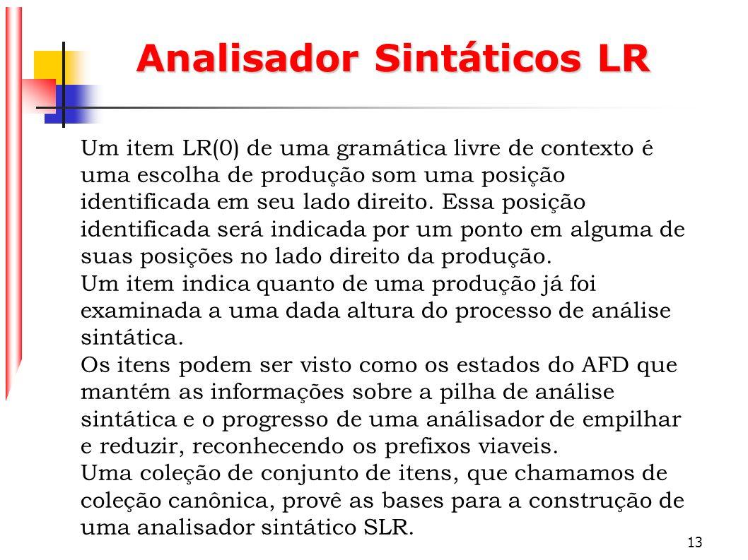 Analisador Sintáticos LR