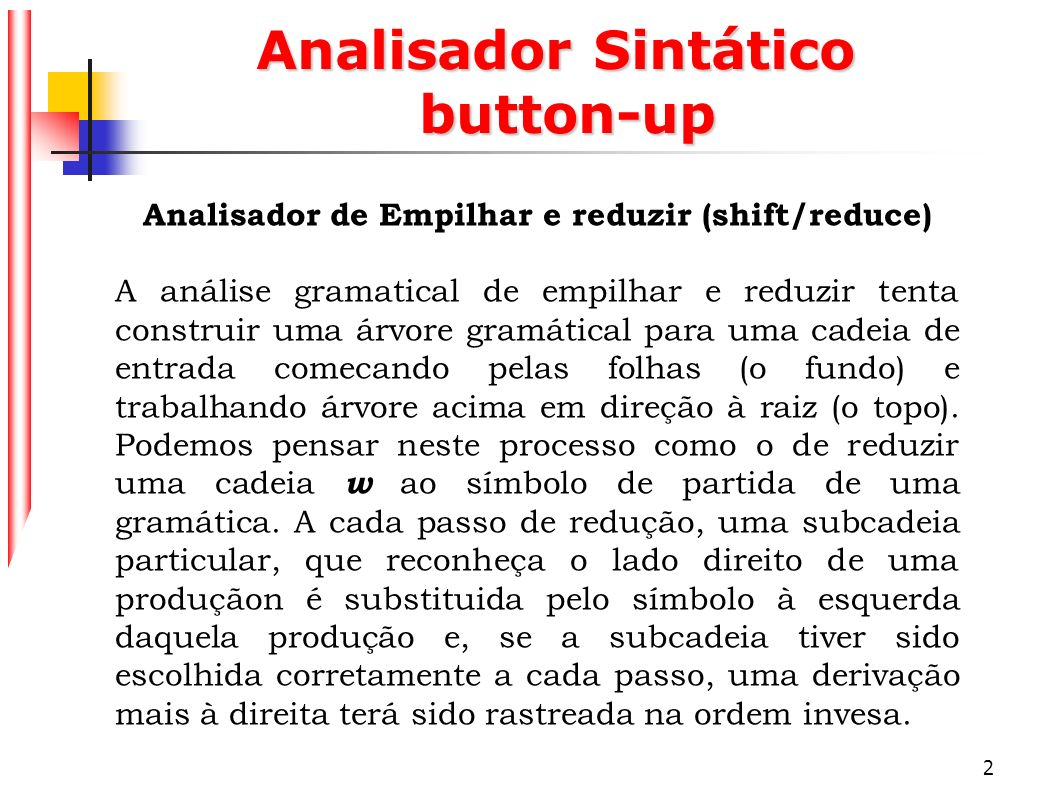 Analisador Sintático button-up
