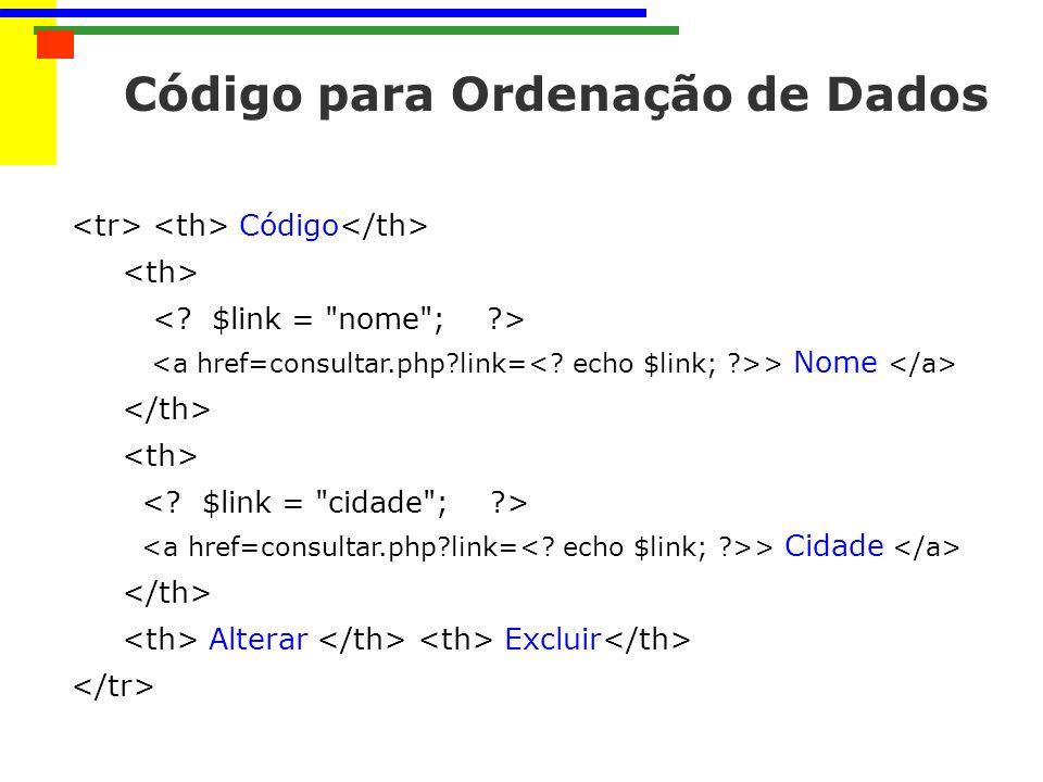 Código para Ordenação de Dados
