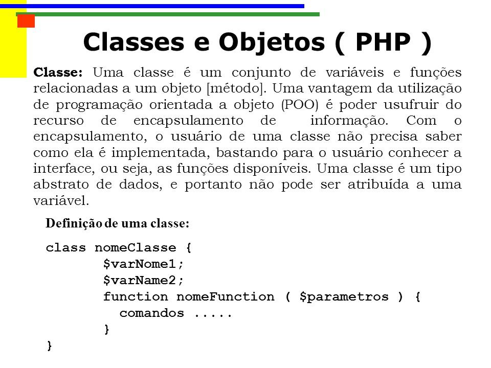 Classes e Objetos ( PHP )