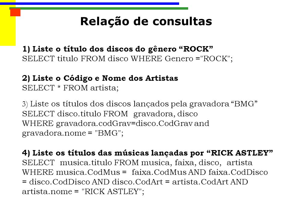 Relação de consultas 1) Liste o título dos discos do gênero ROCK