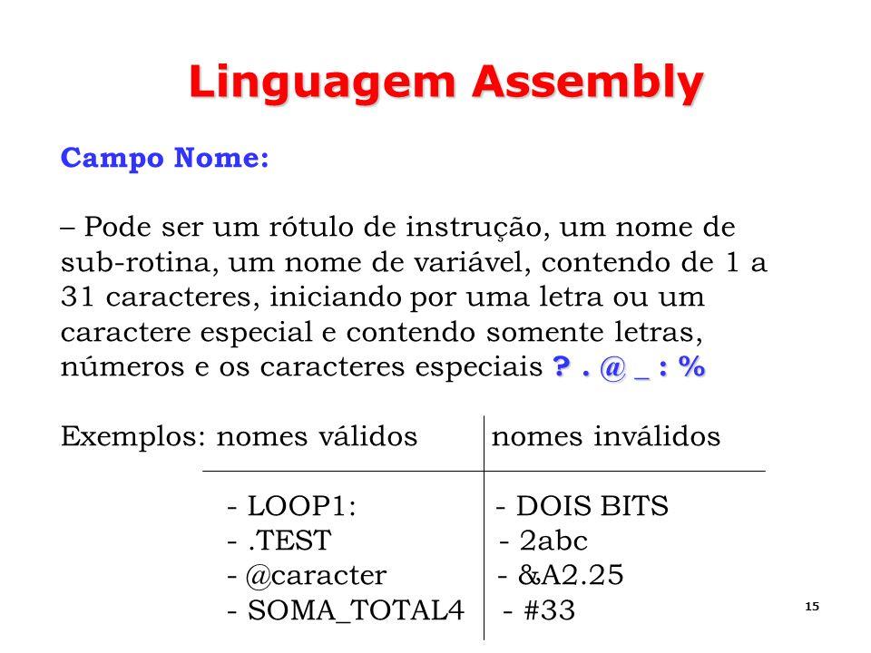Linguagem Assembly Campo Nome: