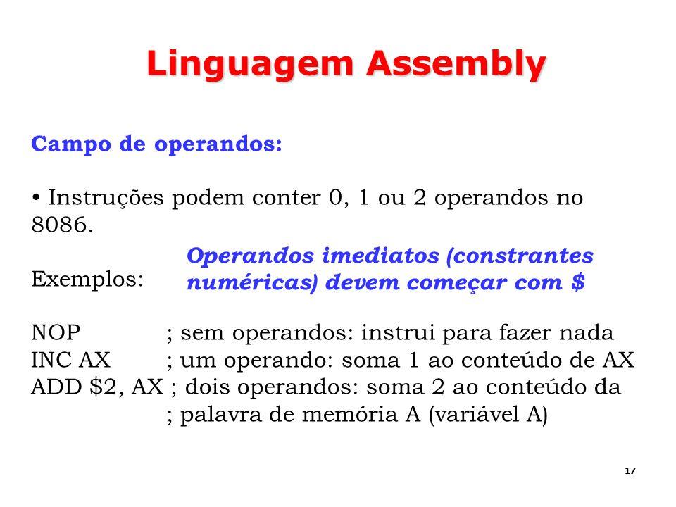 Linguagem Assembly Campo de operandos: