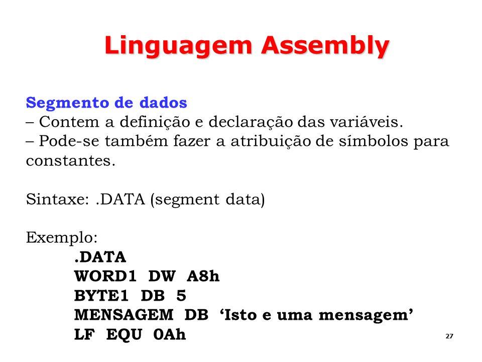 Linguagem Assembly Segmento de dados