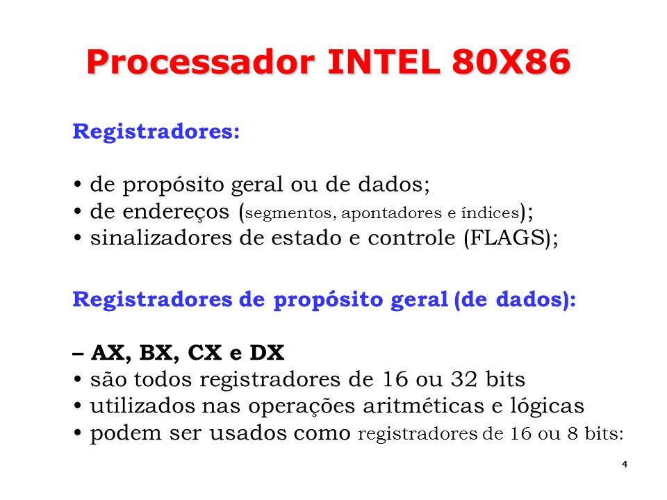 Processador INTEL 80X86 Registradores: de propósito geral ou de dados;