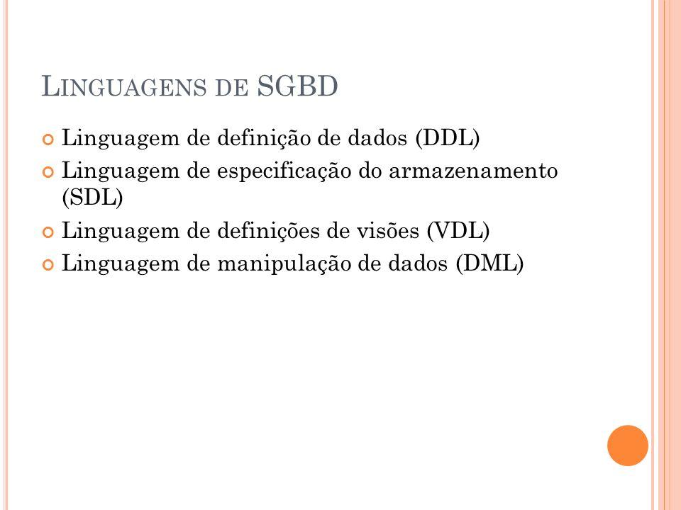 Linguagens de SGBD Linguagem de definição de dados (DDL)