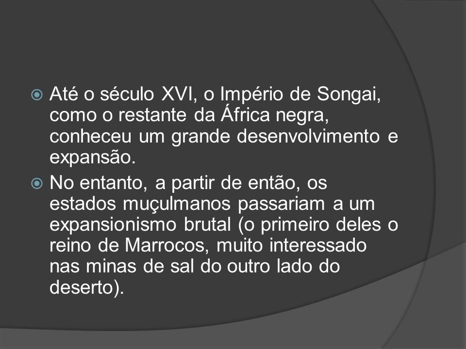 Até o século XVI, o Império de Songai, como o restante da África negra, conheceu um grande desenvolvimento e expansão.