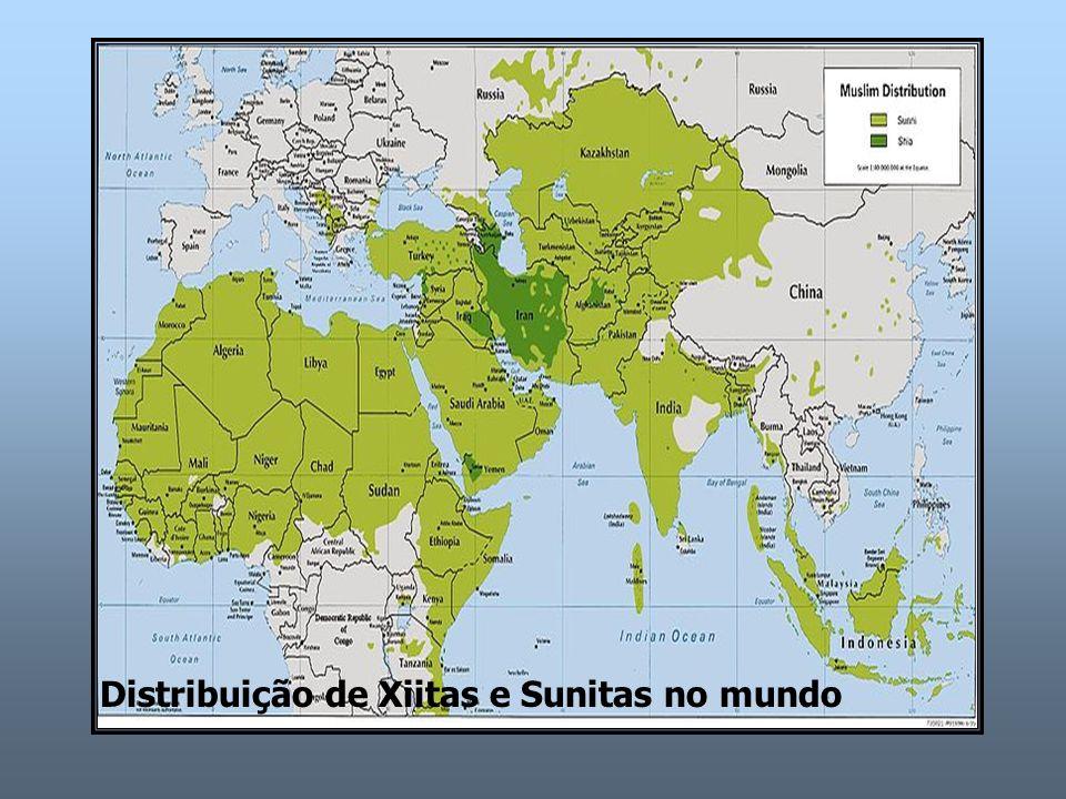Distribuição de Xiitas e Sunitas no mundo