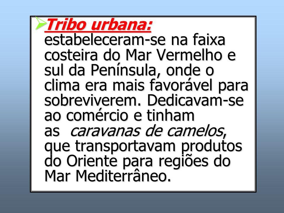 Tribo urbana: estabeleceram-se na faixa costeira do Mar Vermelho e sul da Península, onde o clima era mais favorável para sobreviverem.