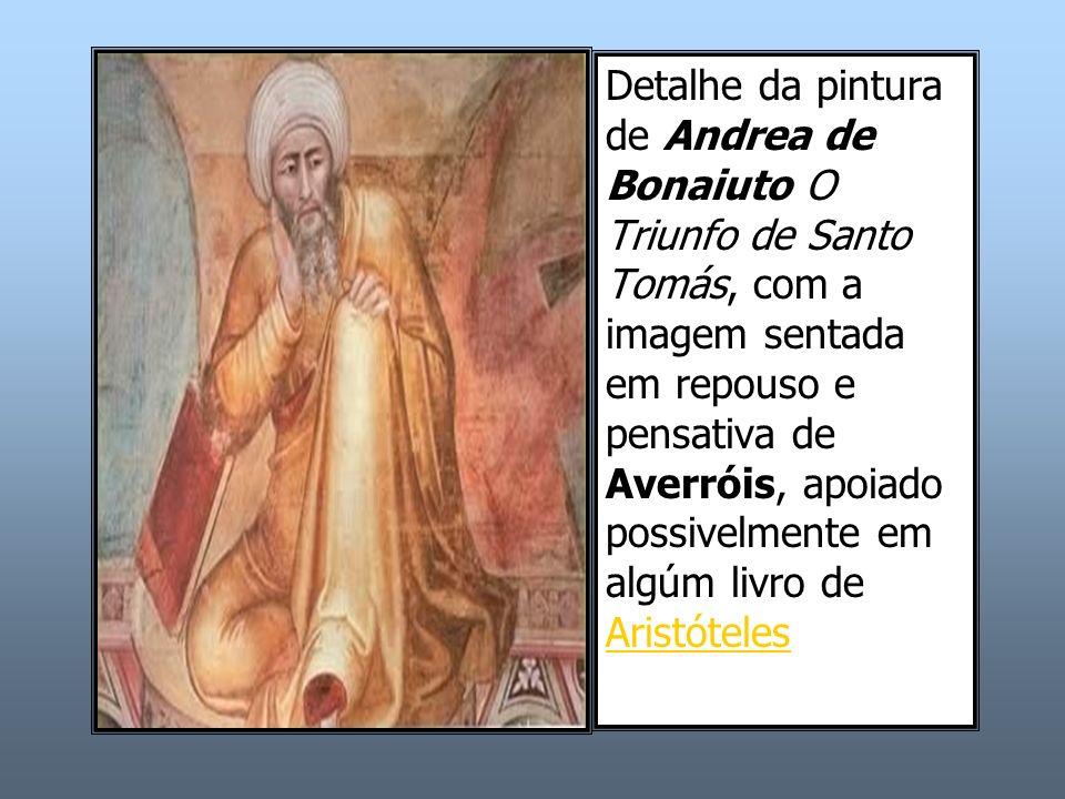 Detalhe da pintura de Andrea de Bonaiuto O Triunfo de Santo Tomás, com a imagem sentada em repouso e pensativa de Averróis, apoiado possivelmente em algúm livro de Aristóteles