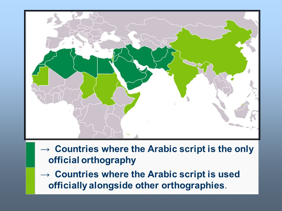 Worldwide uf the Arabic alphabet
