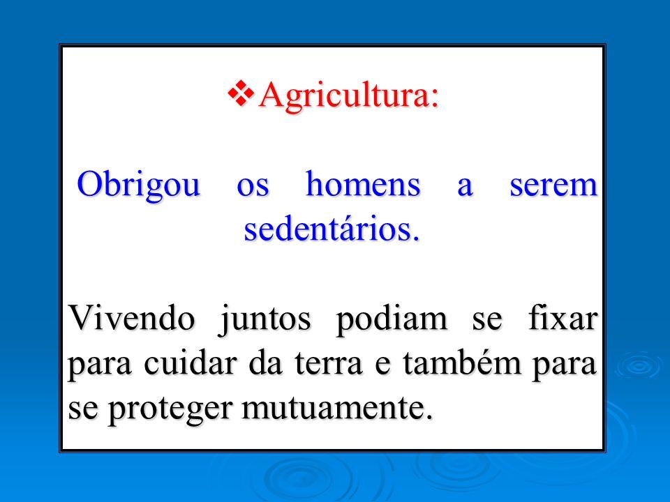 Agricultura: Obrigou os homens a serem sedentários