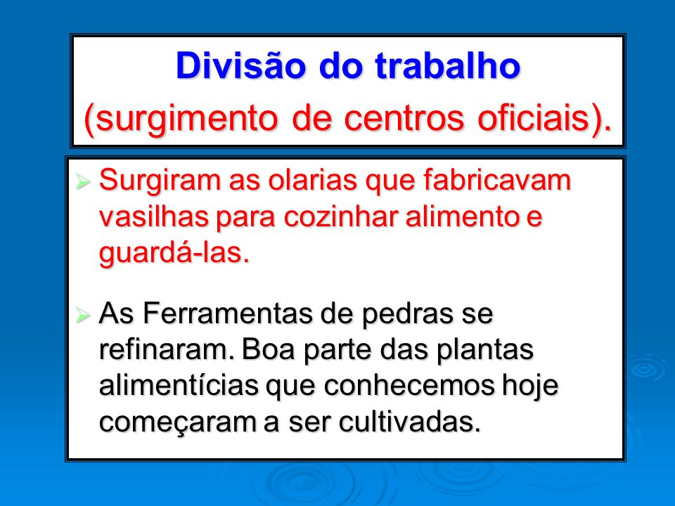 Divisão do trabalho (surgimento de centros oficiais).