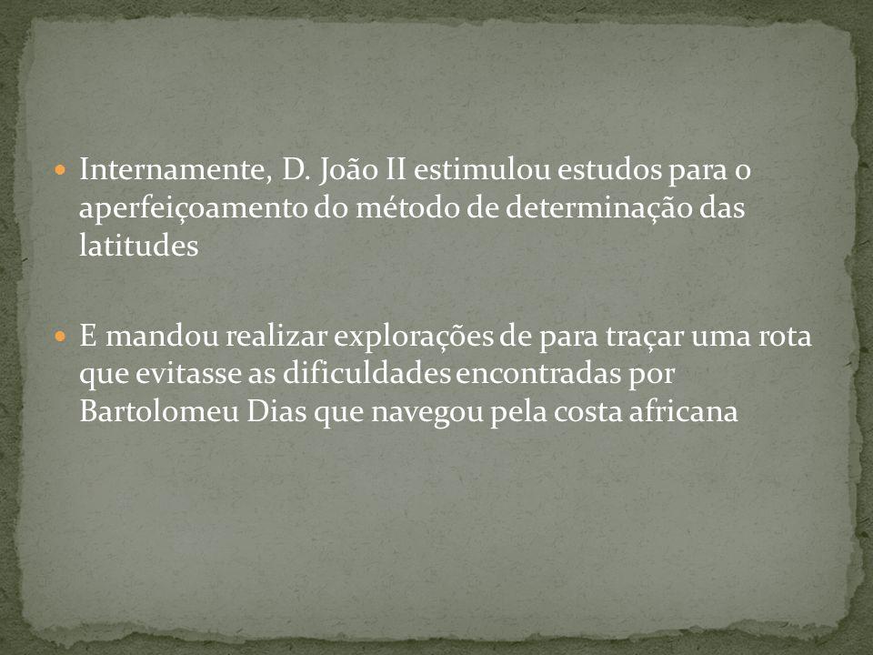 Internamente, D. João II estimulou estudos para o aperfeiçoamento do método de determinação das latitudes