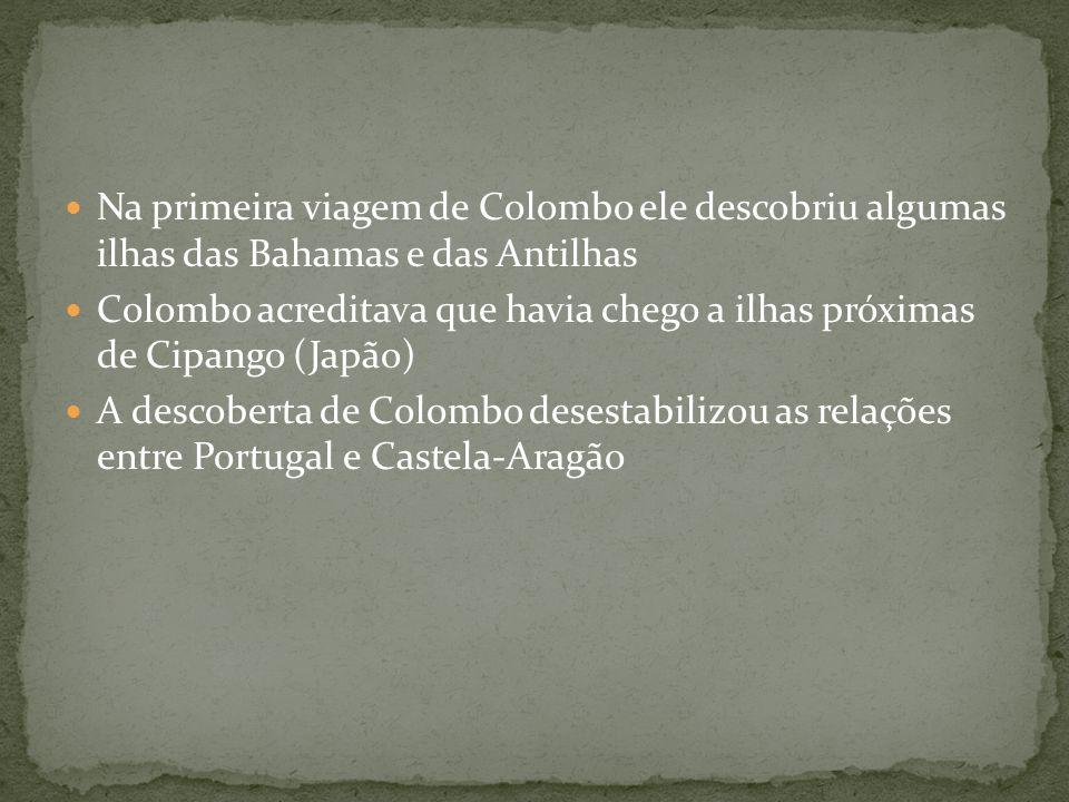 Na primeira viagem de Colombo ele descobriu algumas ilhas das Bahamas e das Antilhas