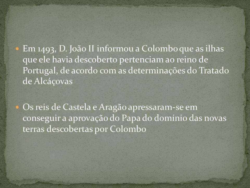 Em 1493, D. João II informou a Colombo que as ilhas que ele havia descoberto pertenciam ao reino de Portugal, de acordo com as determinações do Tratado de Alcáçovas
