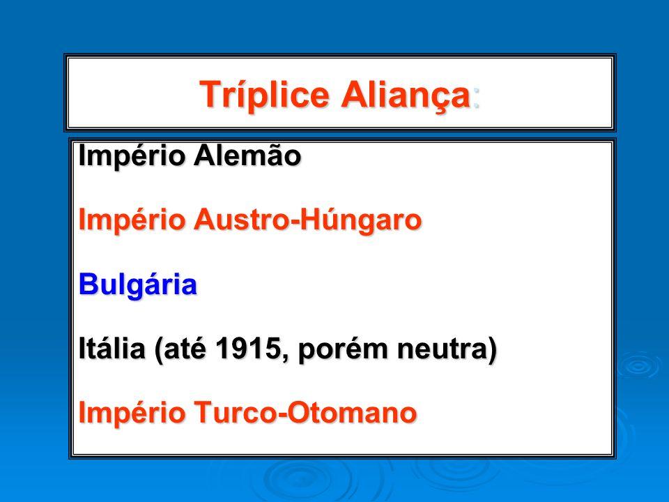 Tríplice Aliança: Império Alemão Império Austro-Húngaro Bulgária