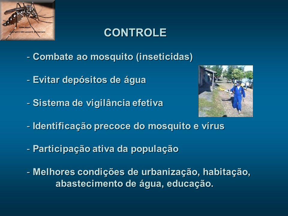CONTROLE Combate ao mosquito (inseticidas) Evitar depósitos de água