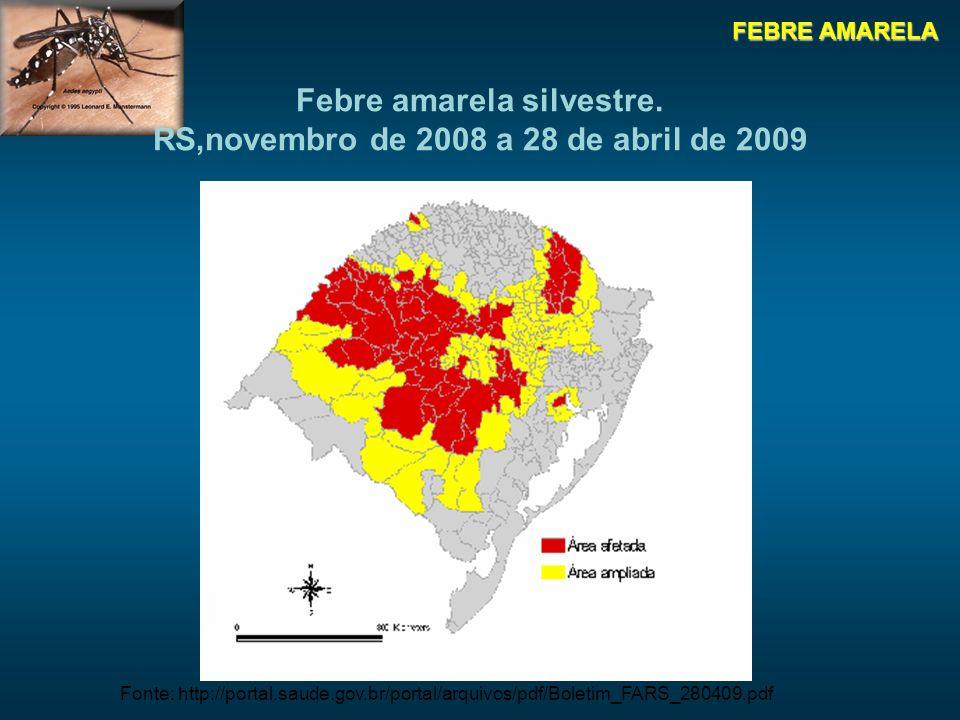 Febre amarela silvestre. RS,novembro de 2008 a 28 de abril de 2009
