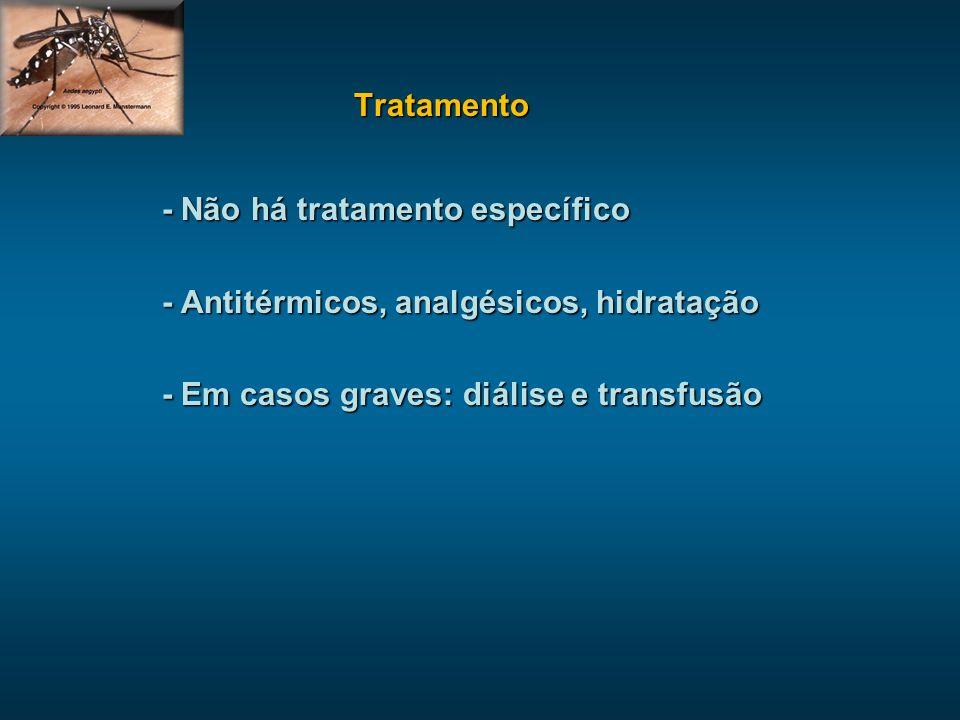 Tratamento - Não há tratamento específico. - Antitérmicos, analgésicos, hidratação.